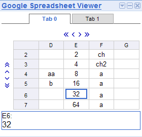 Google Spreadsheet Viewer screenshot