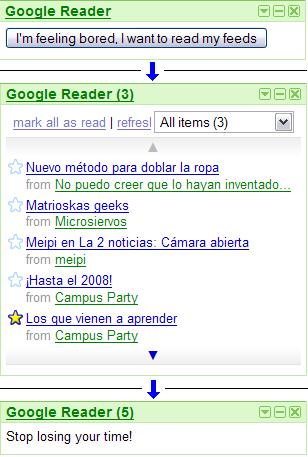 Google Reader with Antiprocrastrinator screenshot