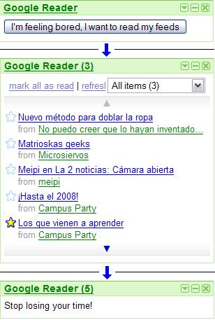 Google Reader with Antiprocrastrinator screenshot